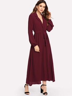 Notched Collar Solid Wrap Dress