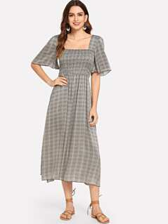 Square Neck Plaid Dress