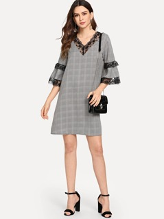 Lace Contrast Bell Sleeve Plaid Dress