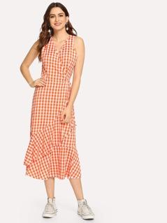 Wrap Ruffle Detail Plaid dress