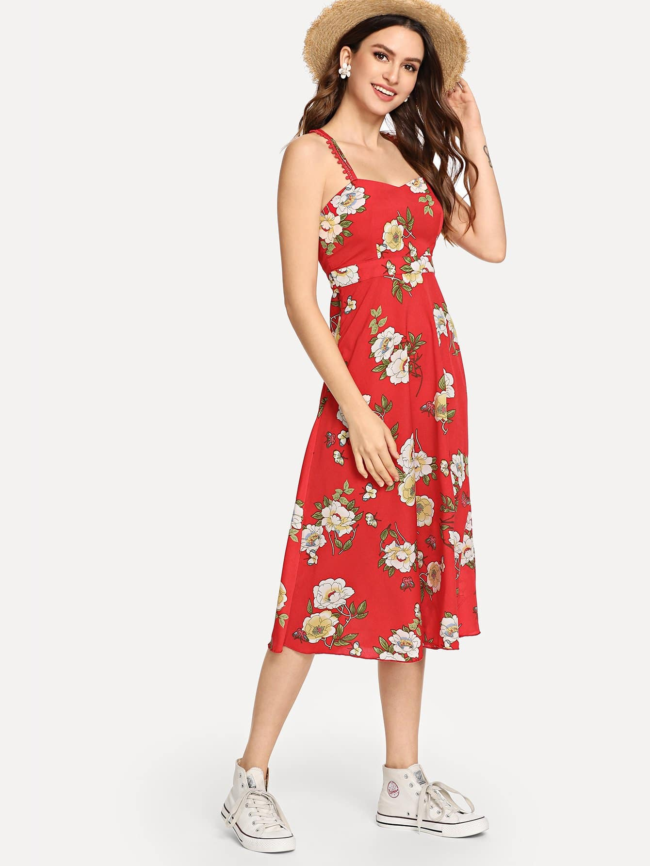 Купить Ситцевое платье на бретелях и с лентами пересечения сзади одежды, Jana, SheIn