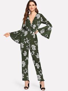 Flounce Sleeve Flower Print Wrap Jumpsuit