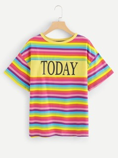Letter Print Striped Tee