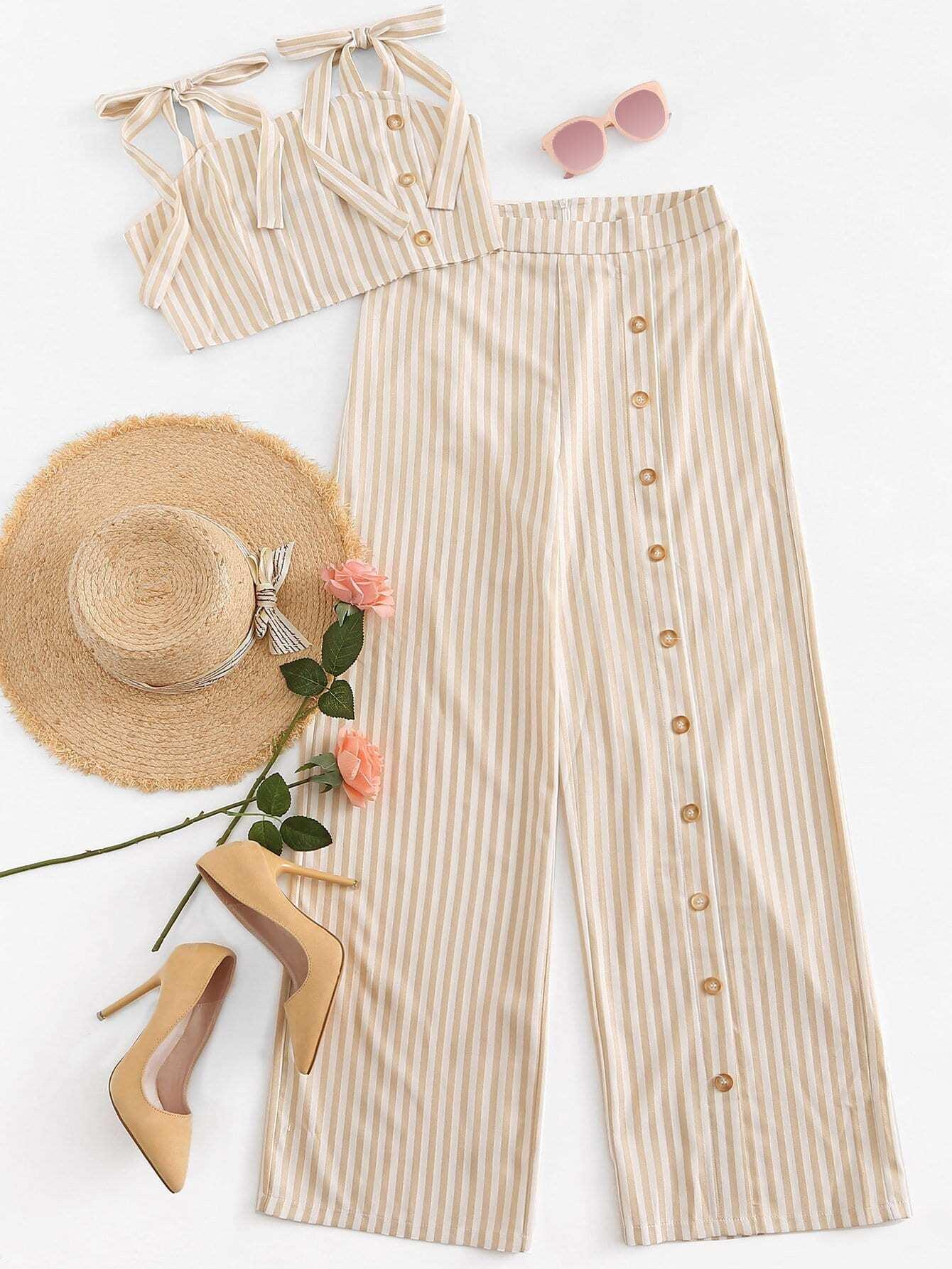 Купить Полосатая блузка на бретелях и брюки, null, SheIn