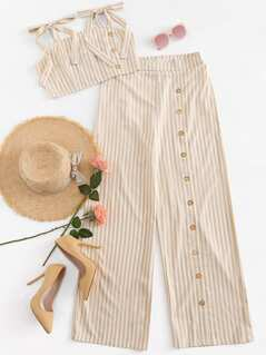 Striped Crop Cami Top & Pants Set