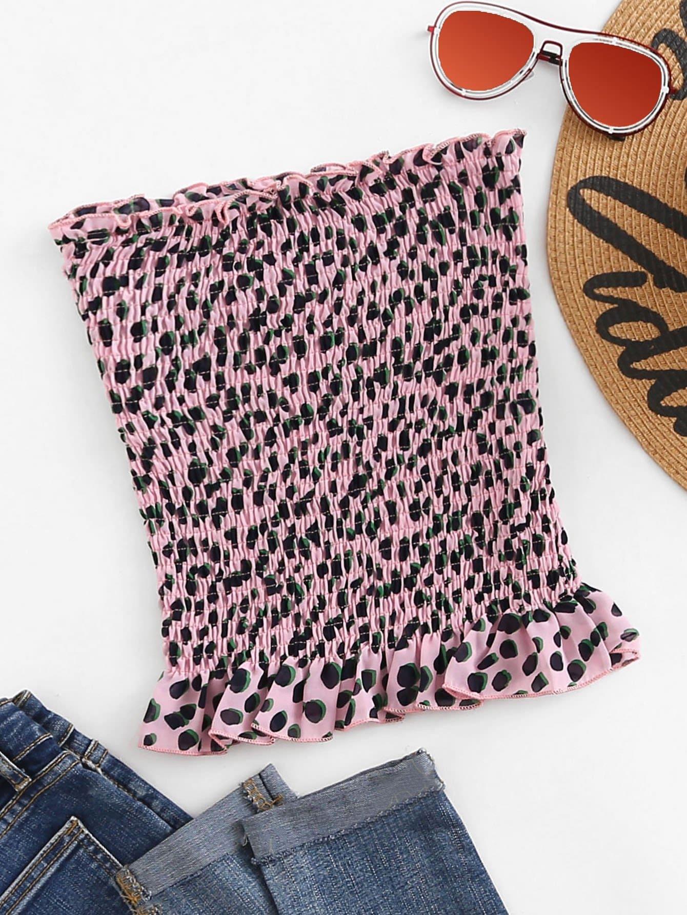 Купить Леопардовая блузка с открытыми плечами, null, SheIn