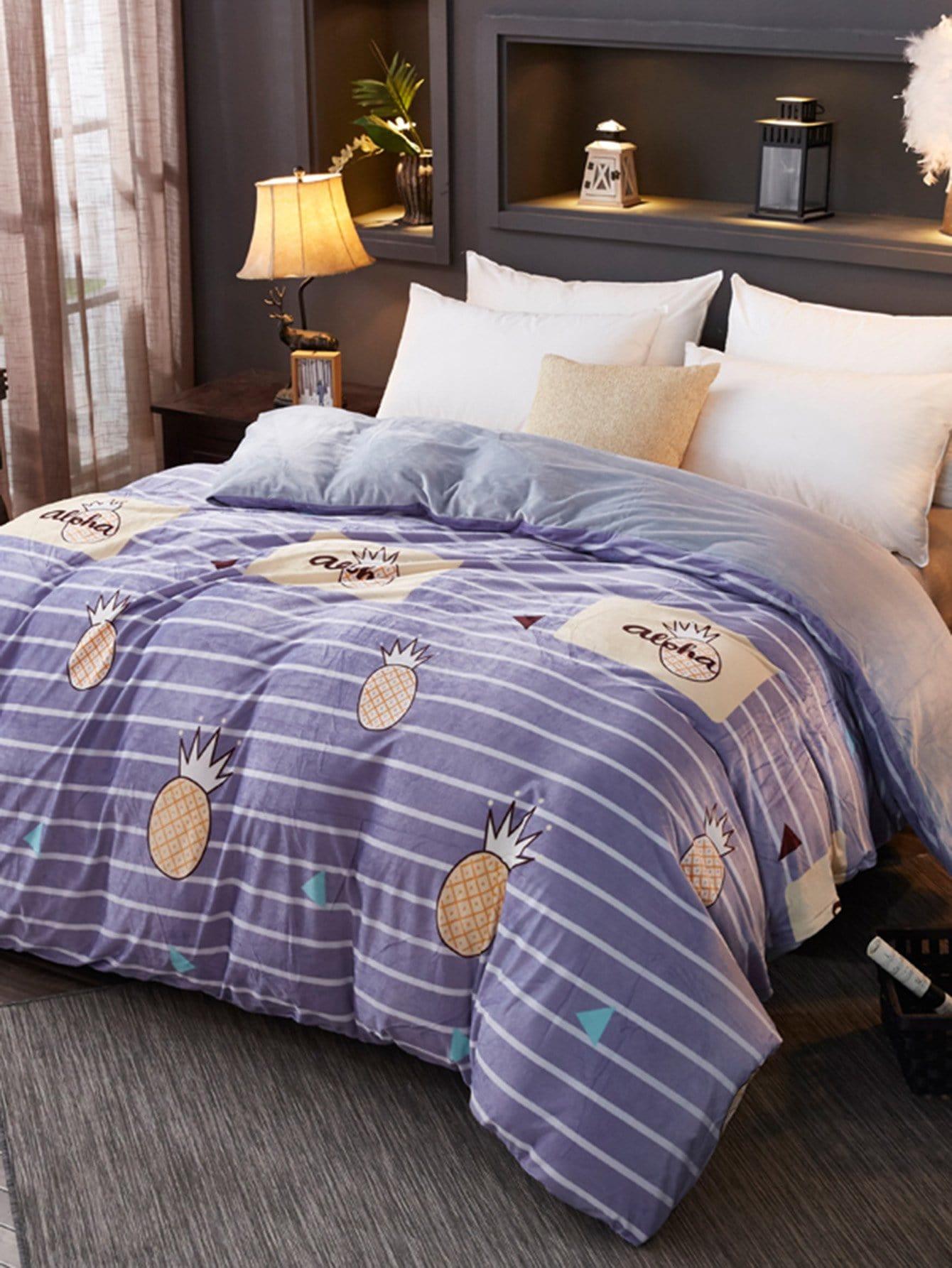 Купить Полосатое бархатное постельное бельё с рисунками анансов 1 шт, null, SheIn