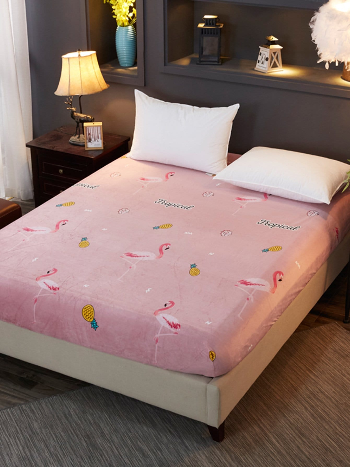 Flamingos & Fruit Print Fitted Sheet 1PC