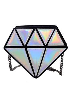 Metallic Silver Diamond Chain Bag