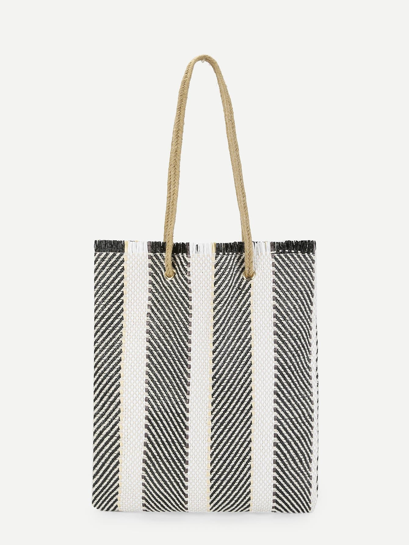Tassel Trim Linen Tote Bag