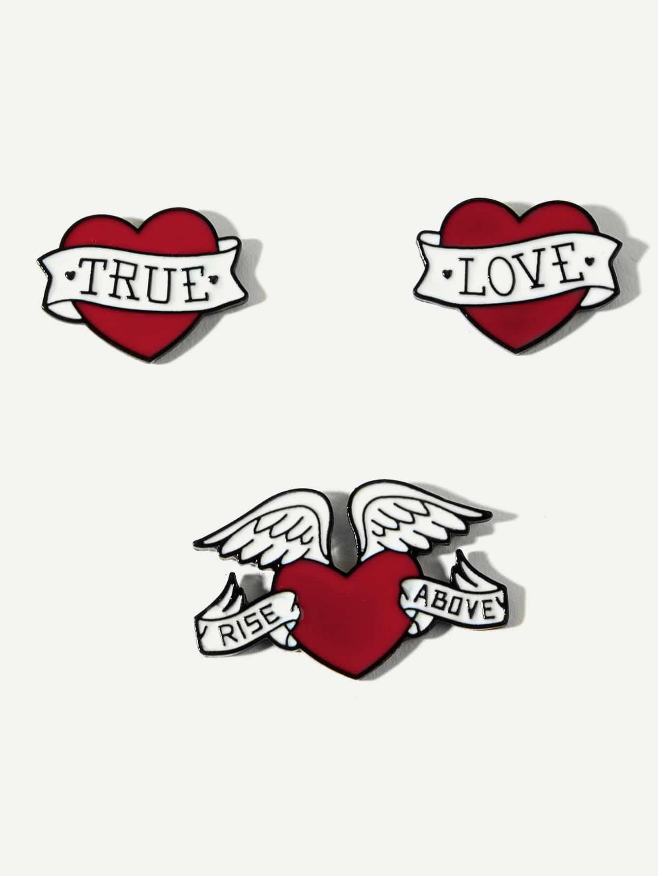 Купить Комплект брошки в форме сердца и буквы 3 шт, null, SheIn