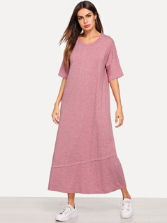 Drop Shoulder Heathered Knit Dress