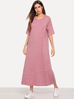 Drop Shoulder Heathered Knit Dress