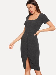 Button Front Form Fitting Marled Knit Dress