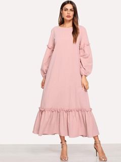 Lantern Sleeve Frill Trim Dress