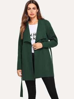 Waist Belted Solid Coat