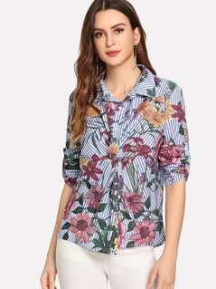 Twist Front Floral Print Collar Shirt