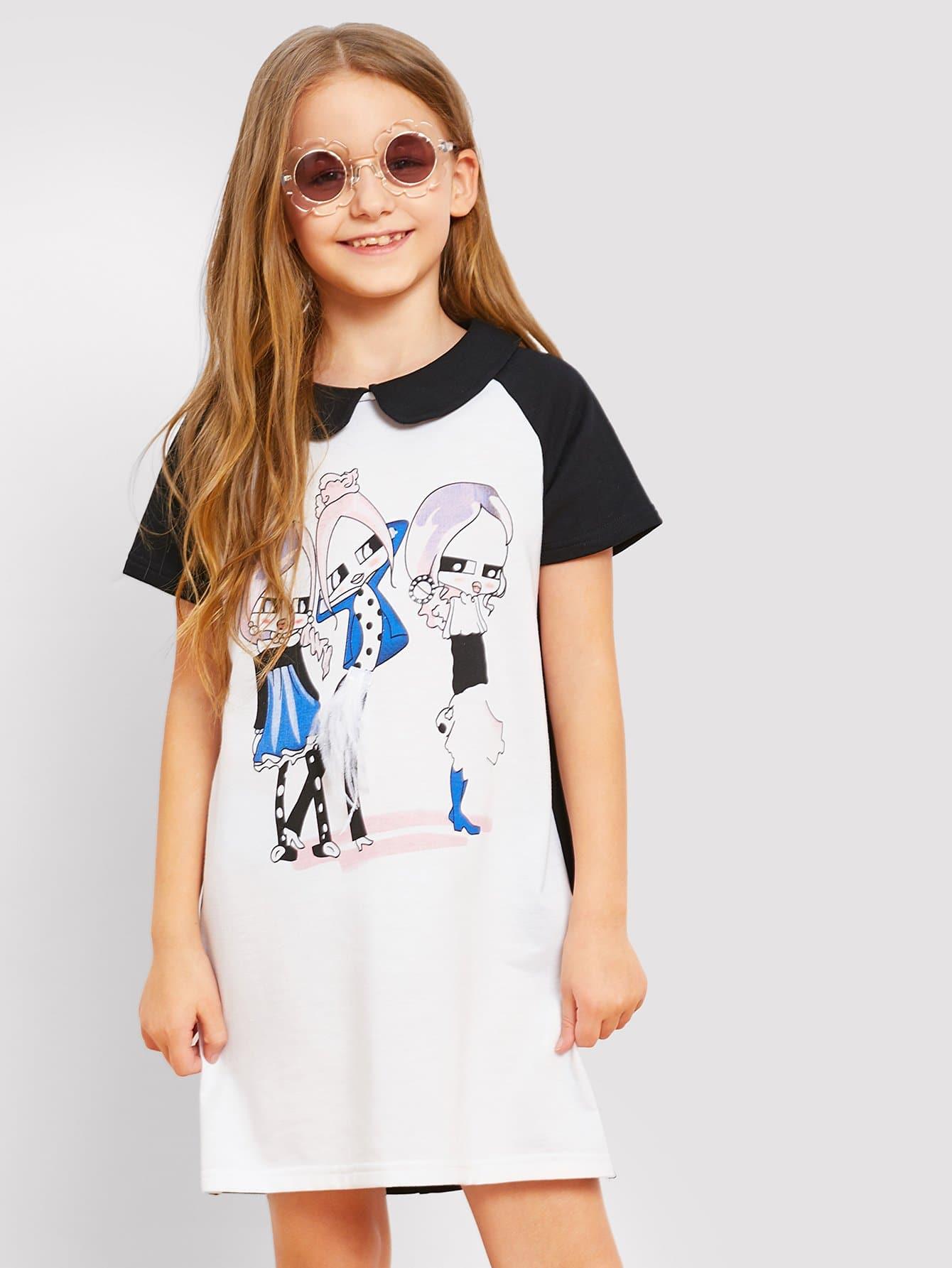Купить Платье с рисунками цифры и с застёжкой молния сзади одежды для девочки, Sashab, SheIn