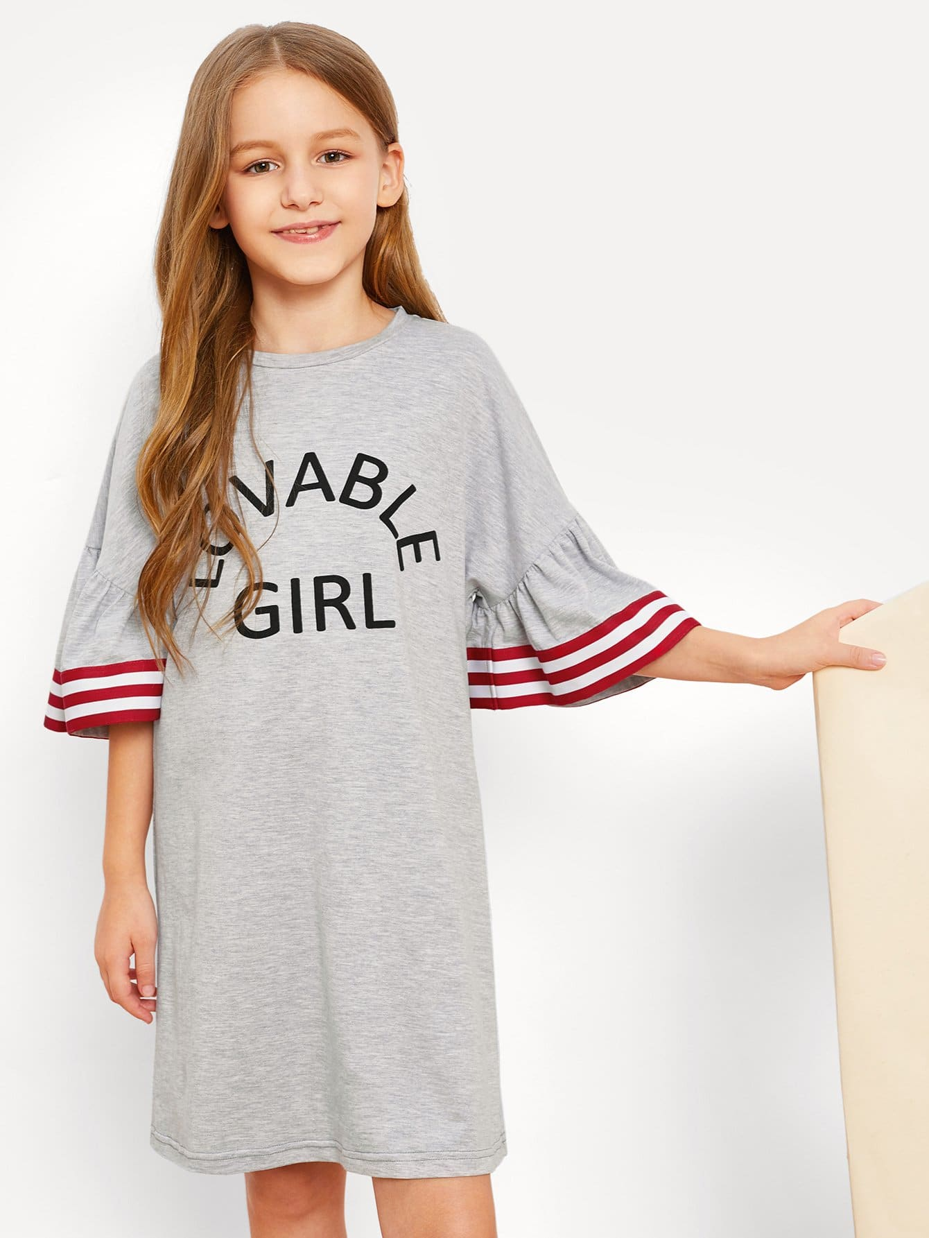 Купить Полосатое платье с рисунками буквы и рукава с розеткой для девочки, Sashab, SheIn
