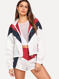 Zip Up Hoodie Color Block Top & Shorts Set