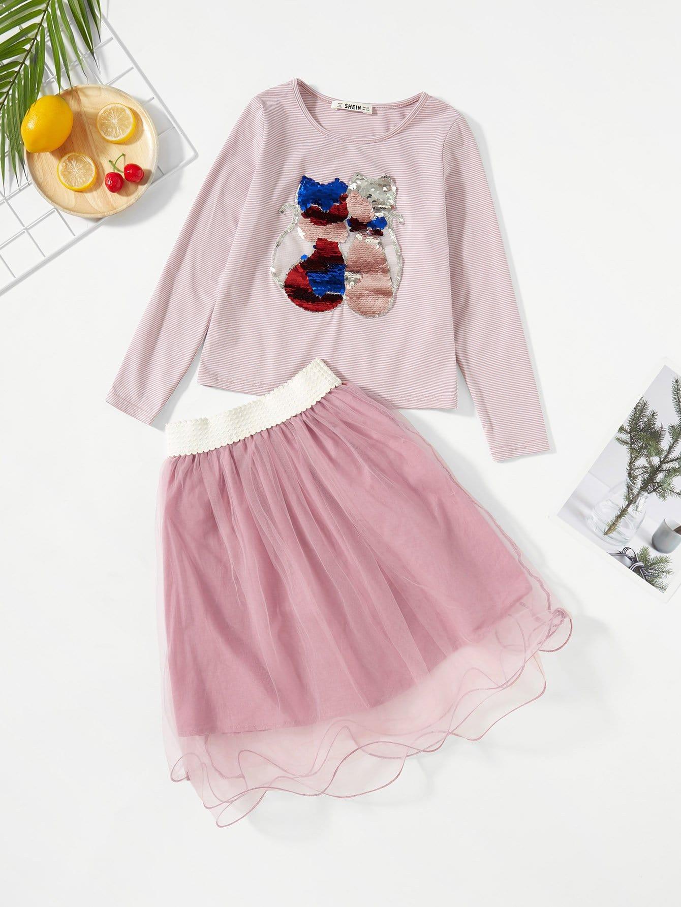 Купить Блузка с рисунком кота и со симметрическими пайетки и сетчатая юбка для девочки, null, SheIn