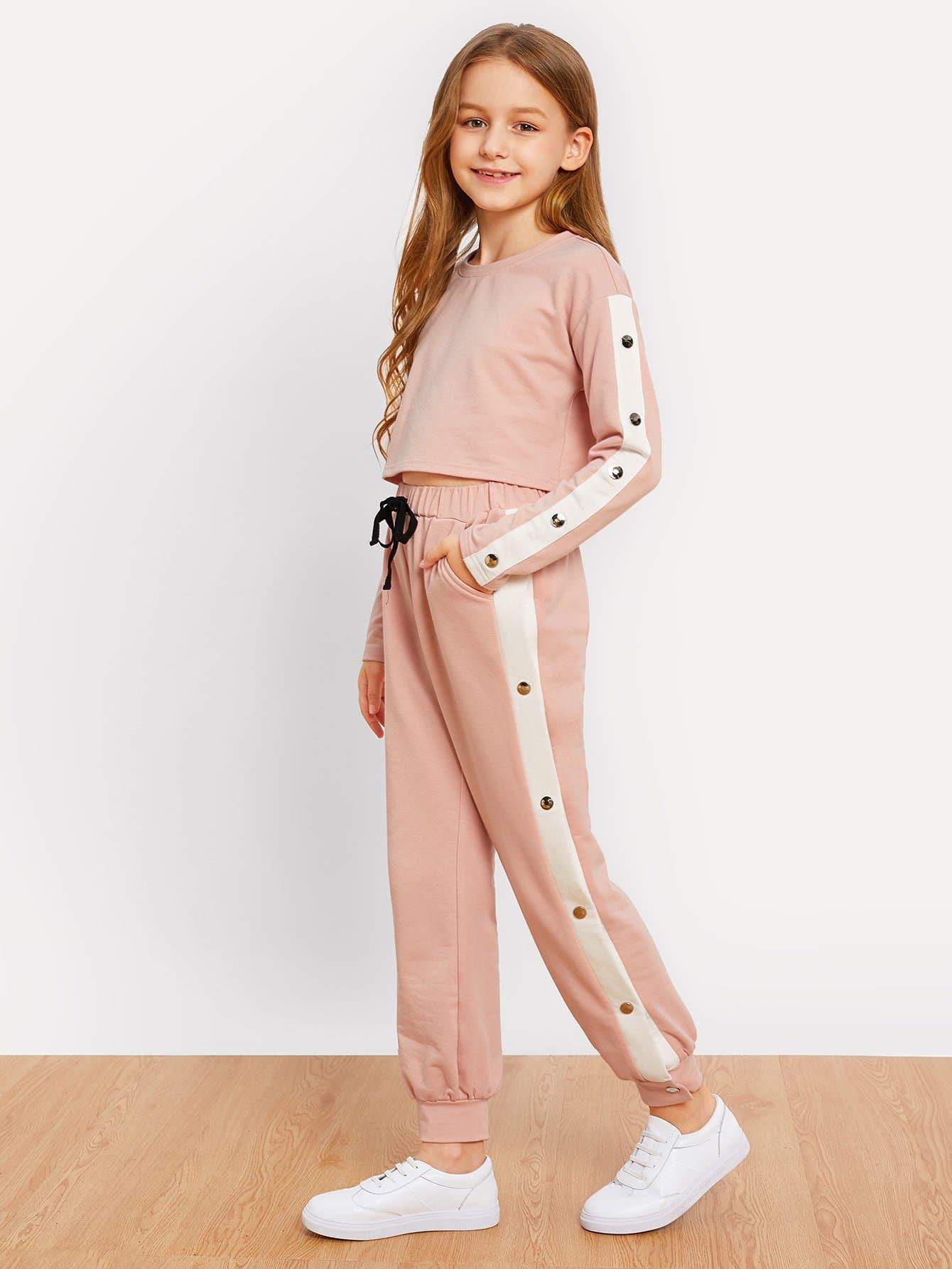 Купить Блузка с заниженной линией плеч и со симметрическими лентами и брюки для девочки, Sashab, SheIn