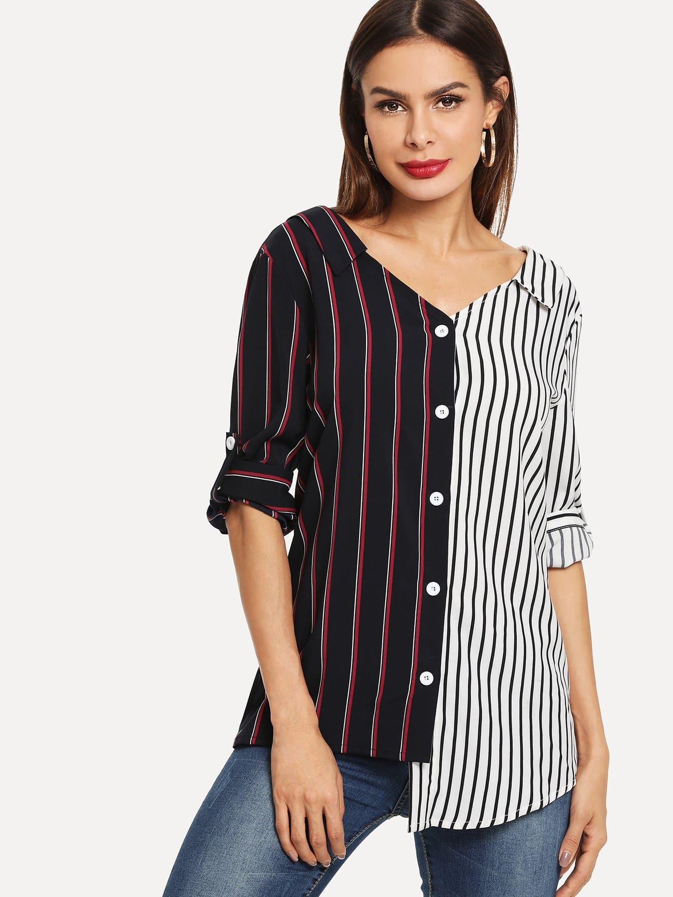 Купить Рубашка со симметрическими полосами и с украшением пуговицы, Andy, SheIn