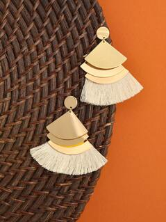 Triangle Drop And Fringe Earrings