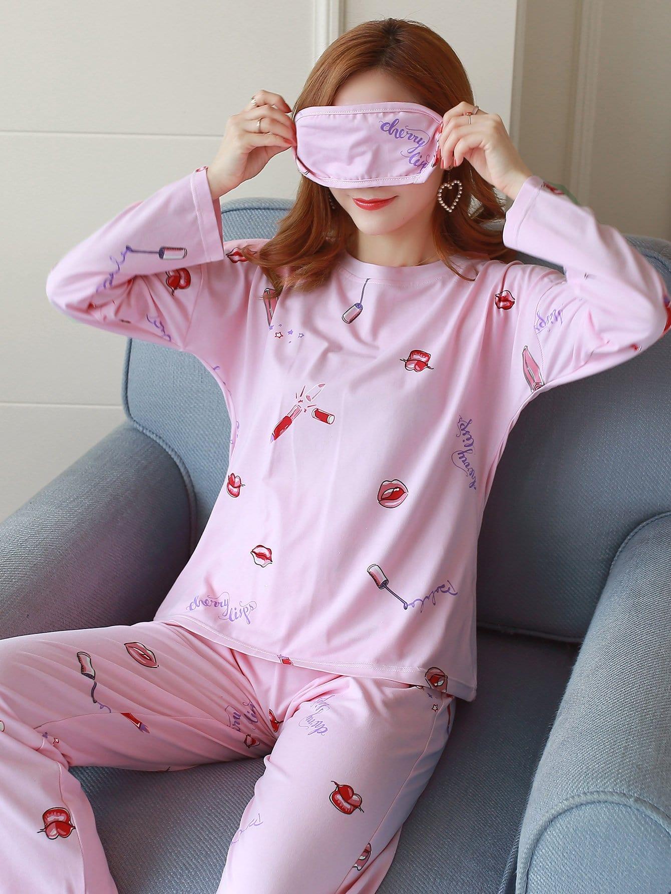 Cosmétiques Impression De Pyjama Set Avec Masque Pour Les Yeux