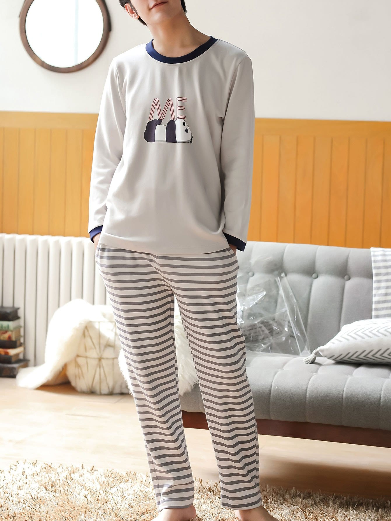 Men Panda Print Striped Pajama Set