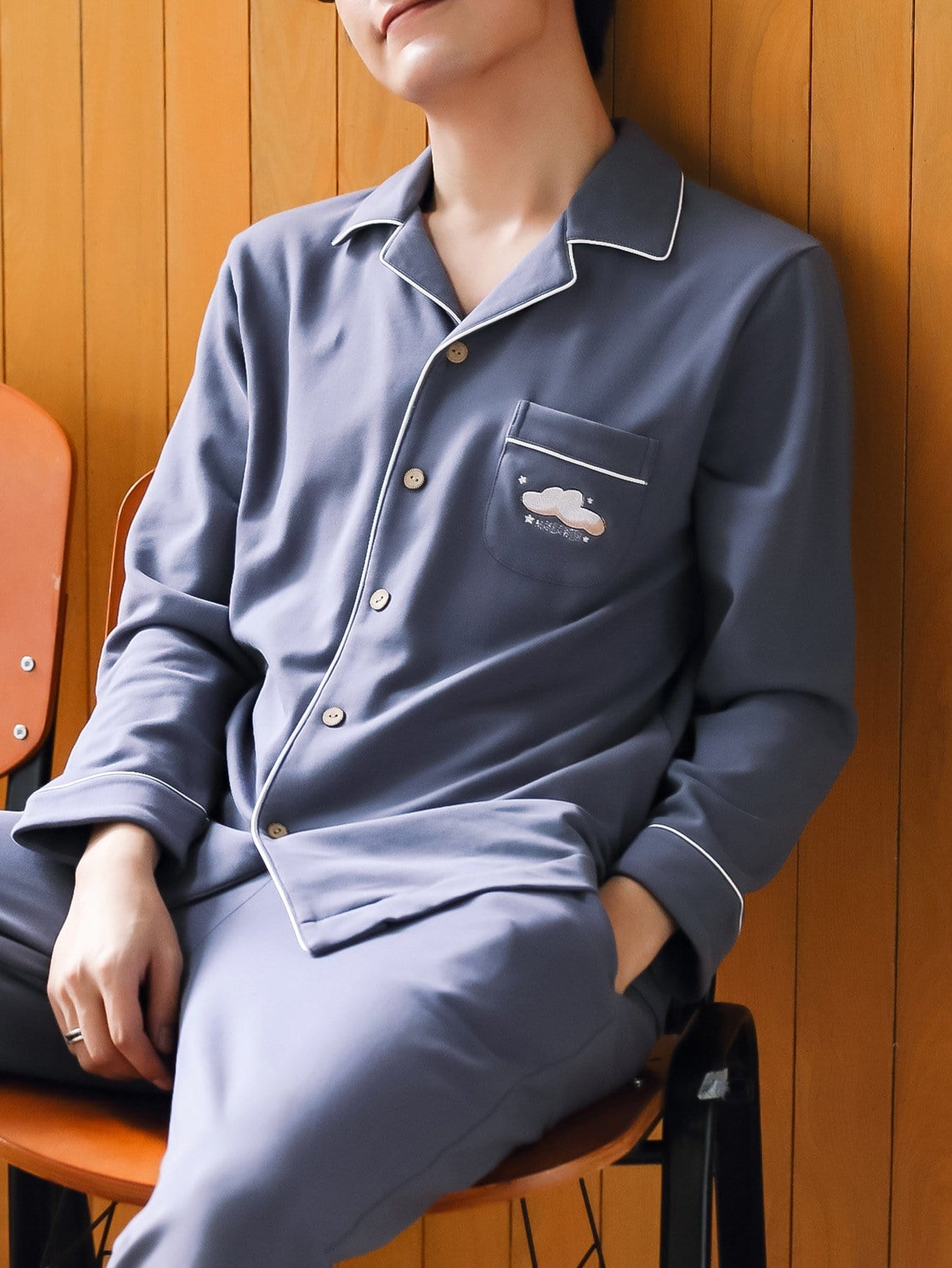 Купить Комплект пижамы с украшением пуговицы и с рисунками вышитых облак для мужчины, null, SheIn