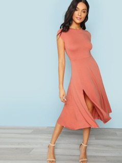 Cap Sleeve Fit & Flare Split Hem Dress