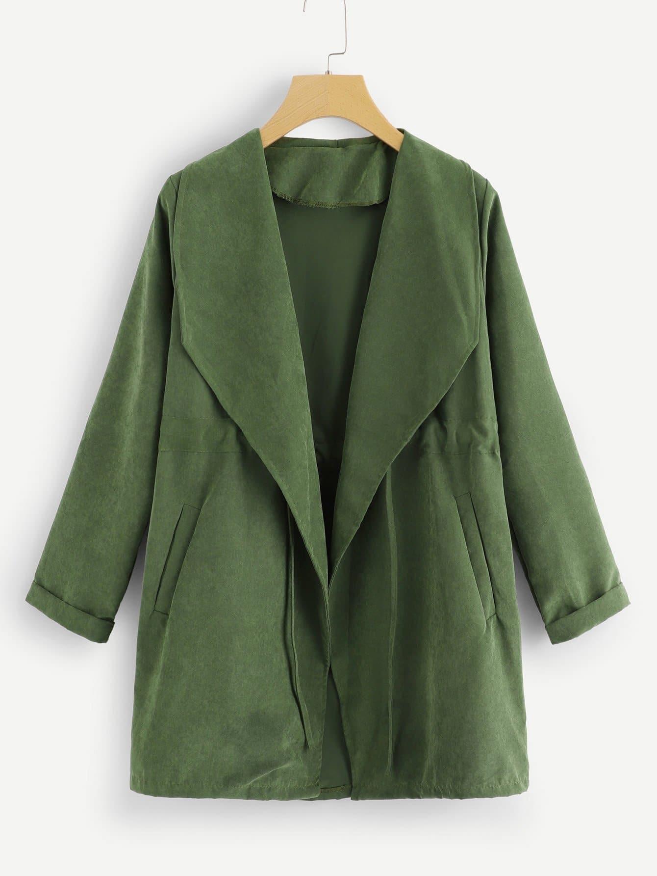 Купить Пальто с отложным воротником и с кулиской, null, SheIn