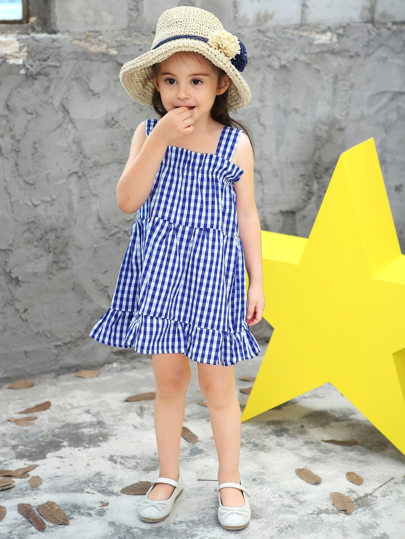 Girls Ruffle Hem Gingham Dress