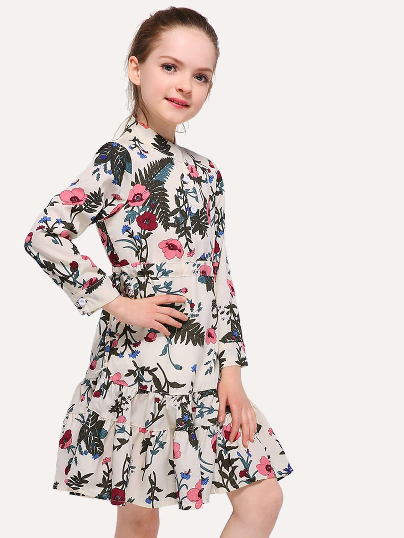 цена на Girls Floral Print Ruffle Hem Dress