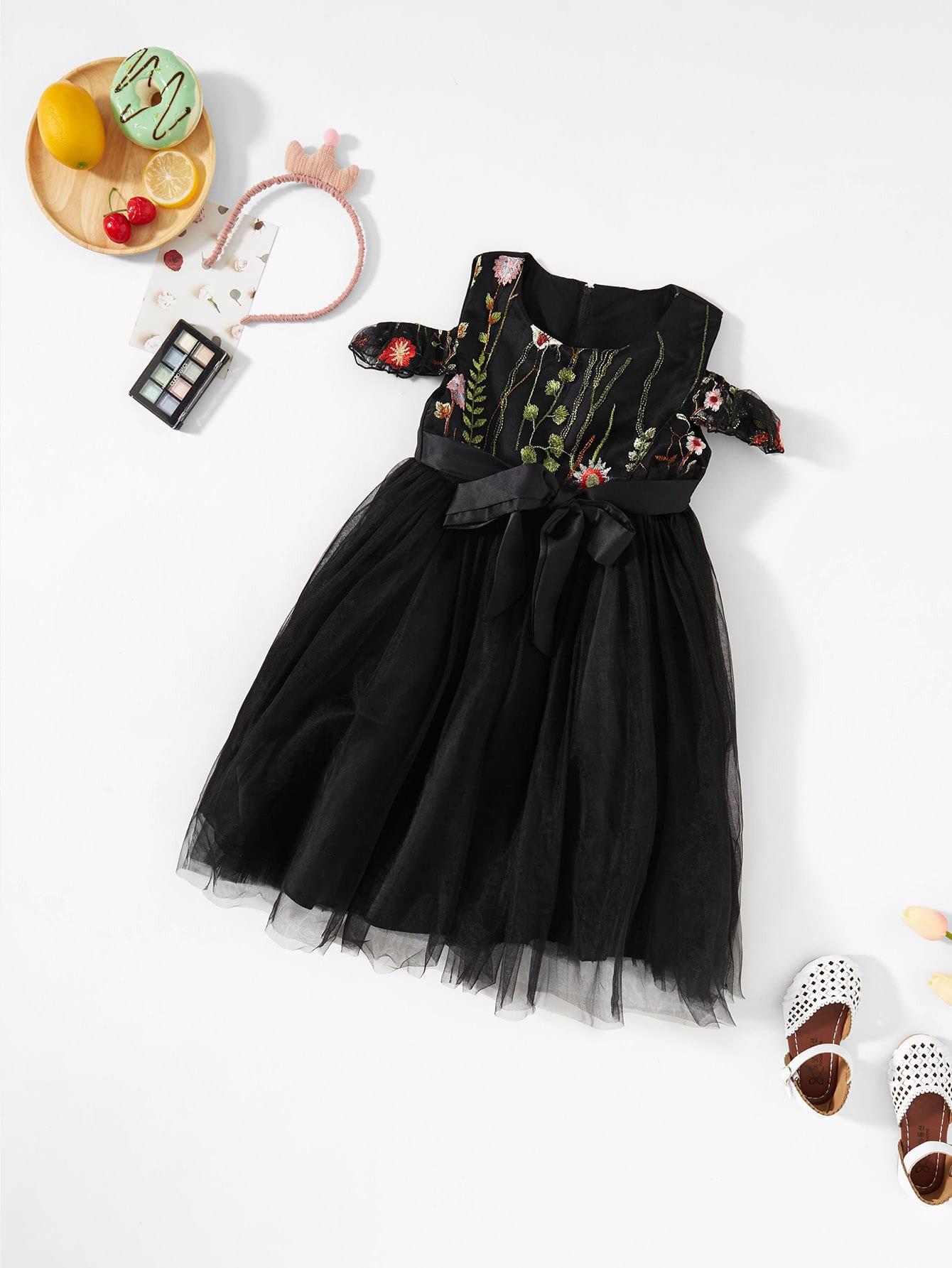 Купить Вышитое платье с открытыми плечами для девочки, null, SheIn