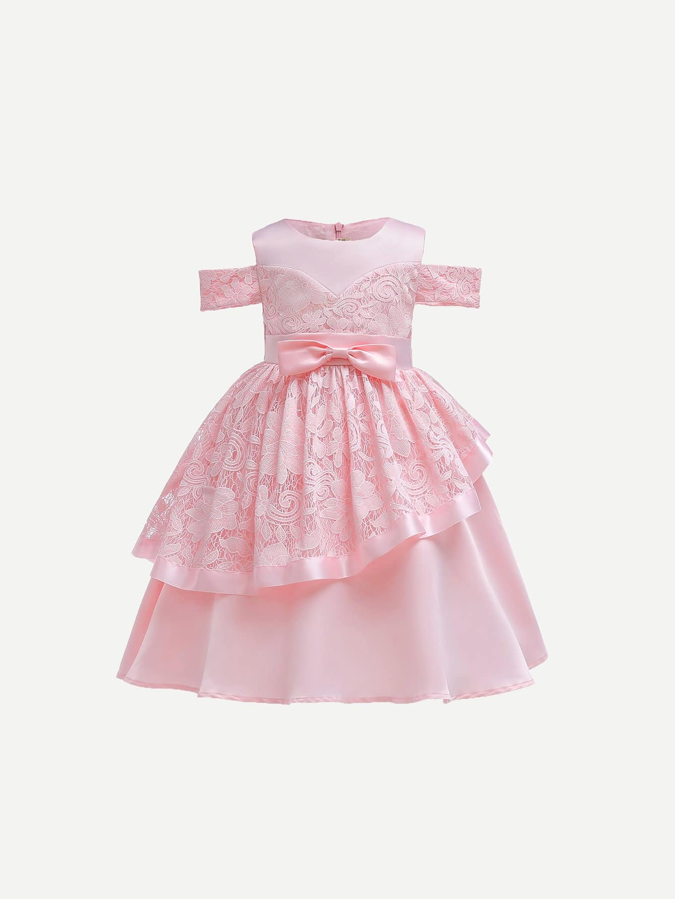 Girls Bow Front Contrast Lace Dress