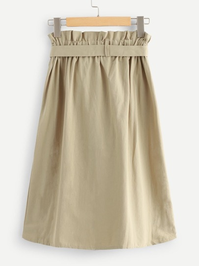 Romwe / Self Tie Waist Frill Trim Skirt