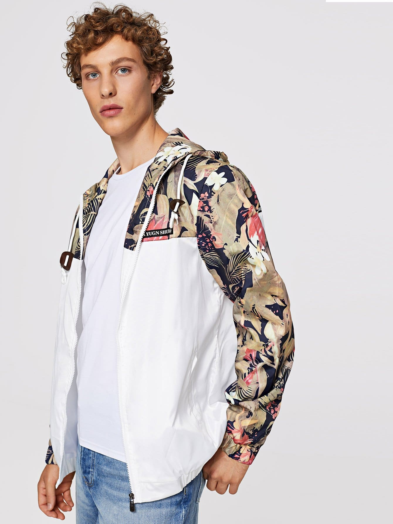 Men Cut And Sew Panel Floral Print Jacket
