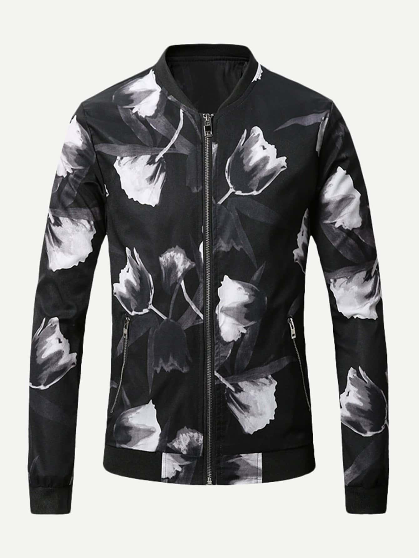 Men Allover Floral Print Jacket
