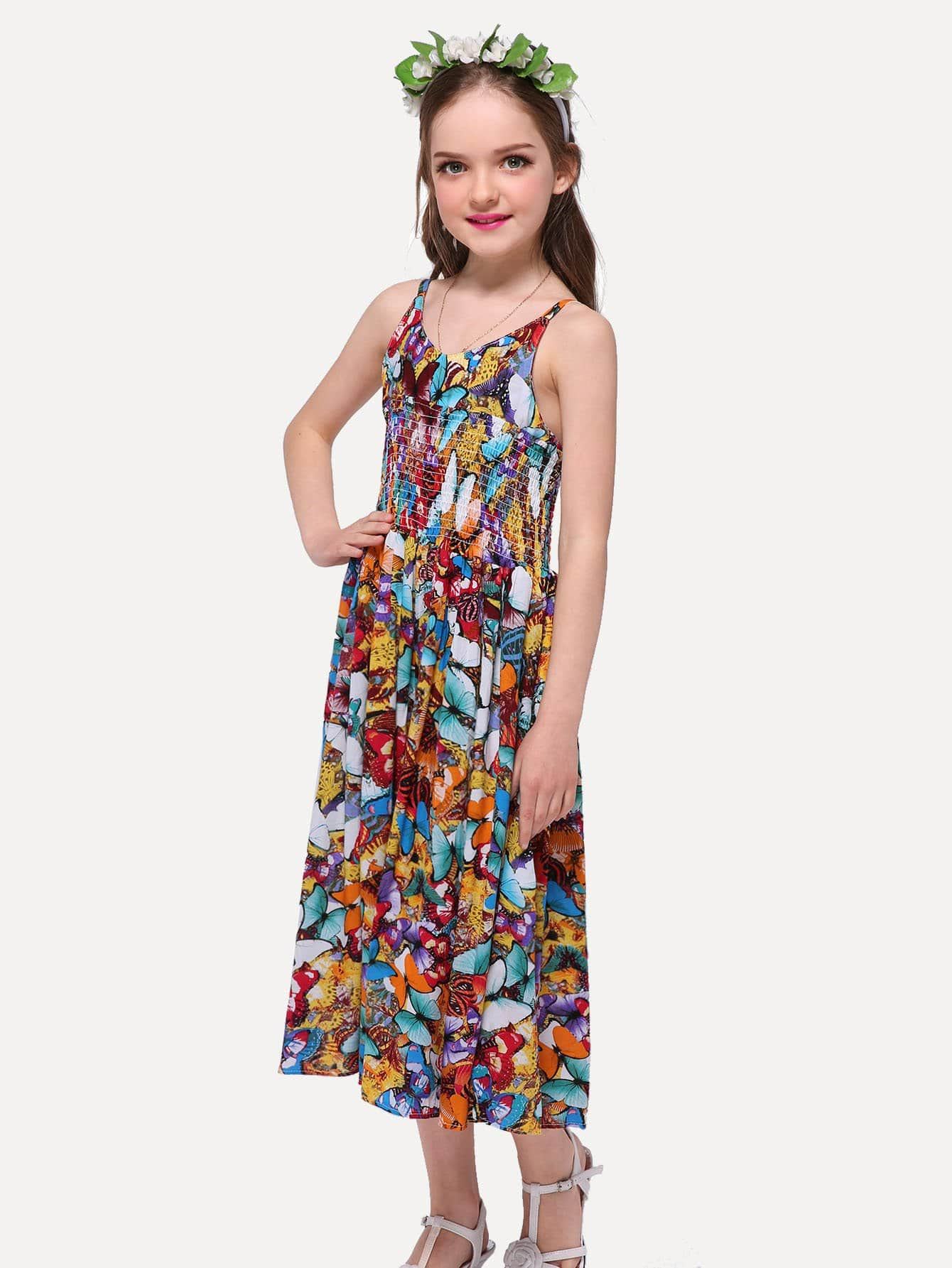 Girls Butterfly Print Cami Jumpsuit