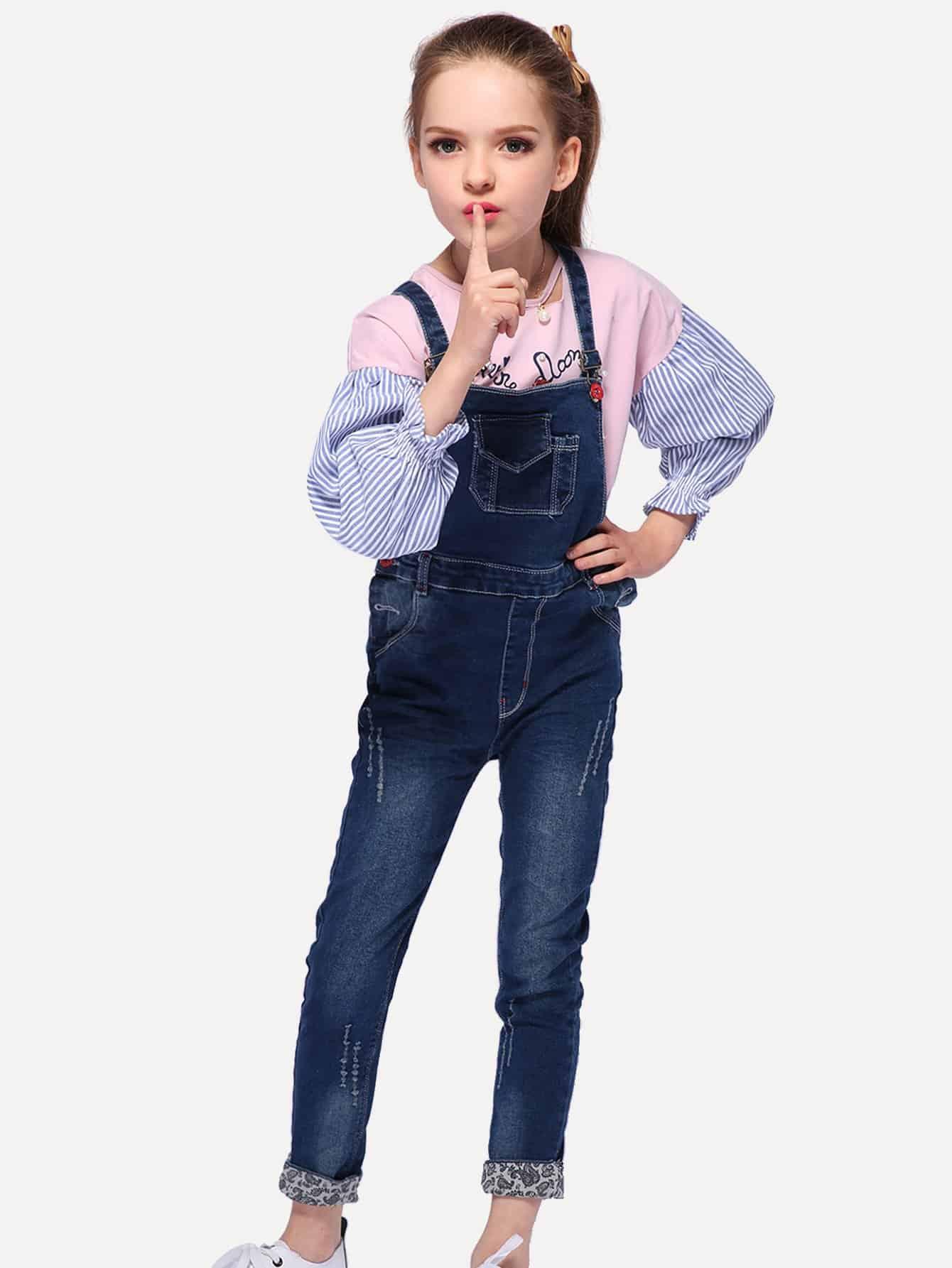 Girls Pocket Detail Denim Overalls