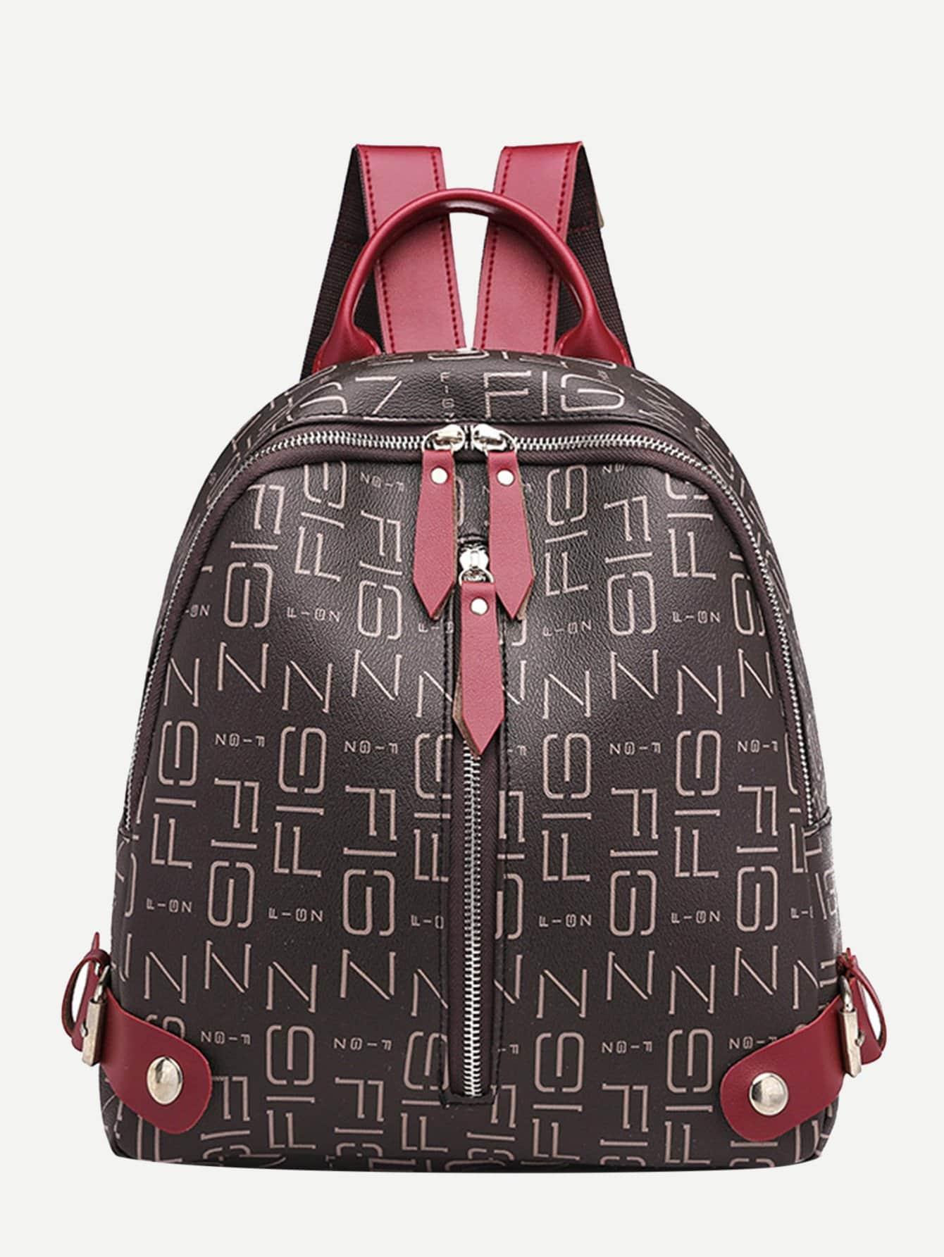 Купить Кожаный рюкзак с застёжкой молния, null, SheIn