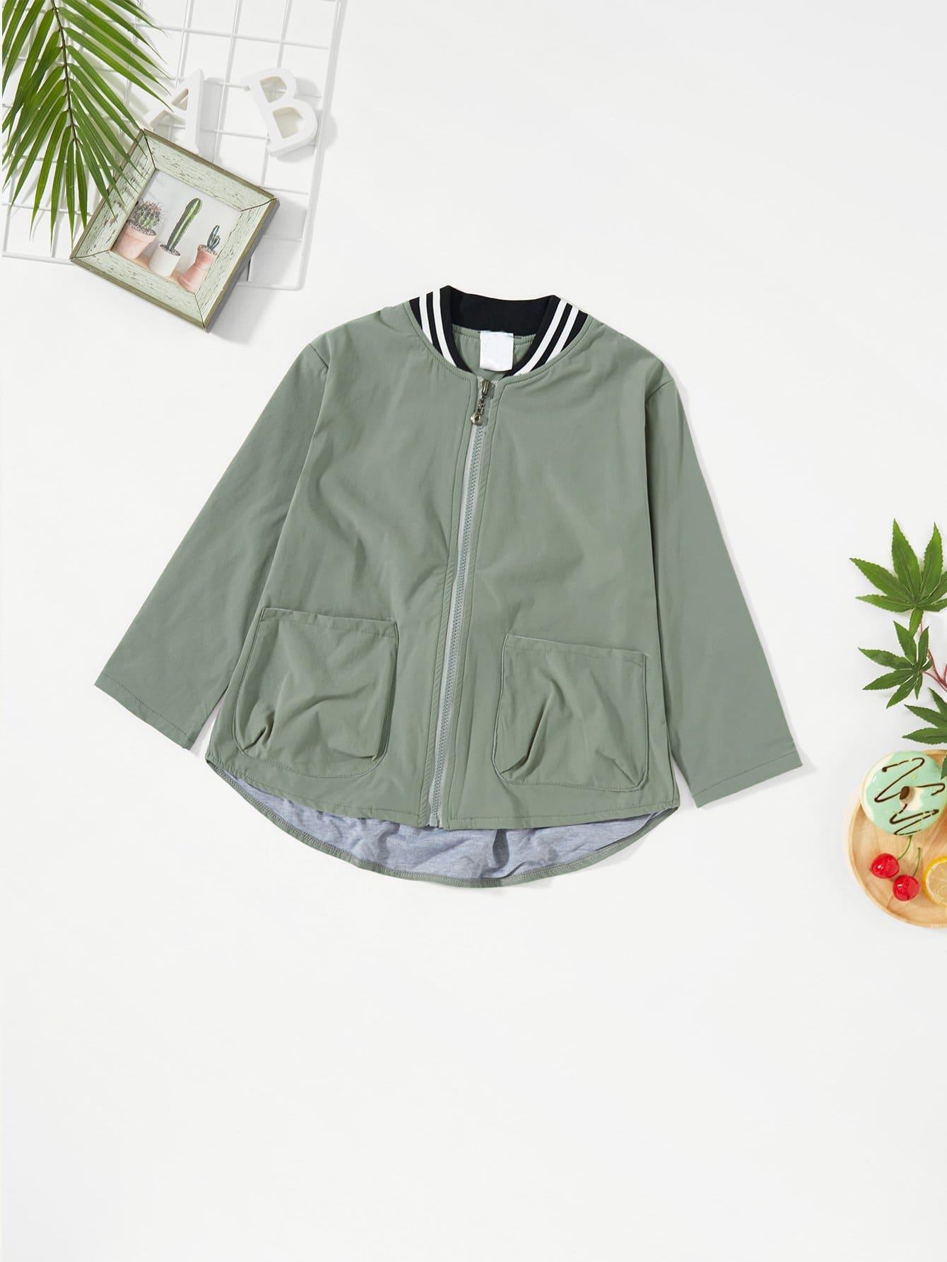 Girls Pocket Decoration Jacket