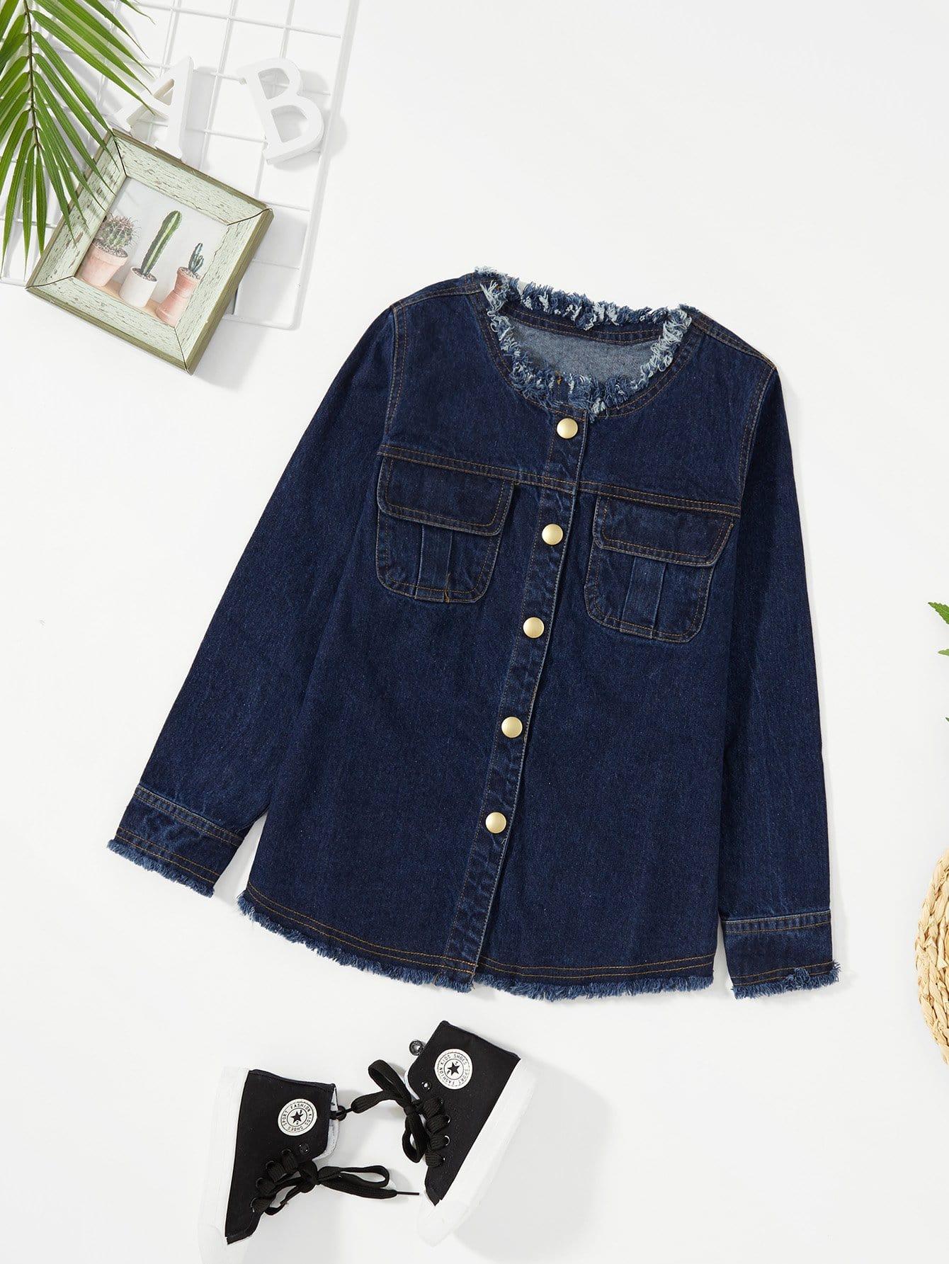 Girls Raw Hem Pocket Decoration Denim Jacket