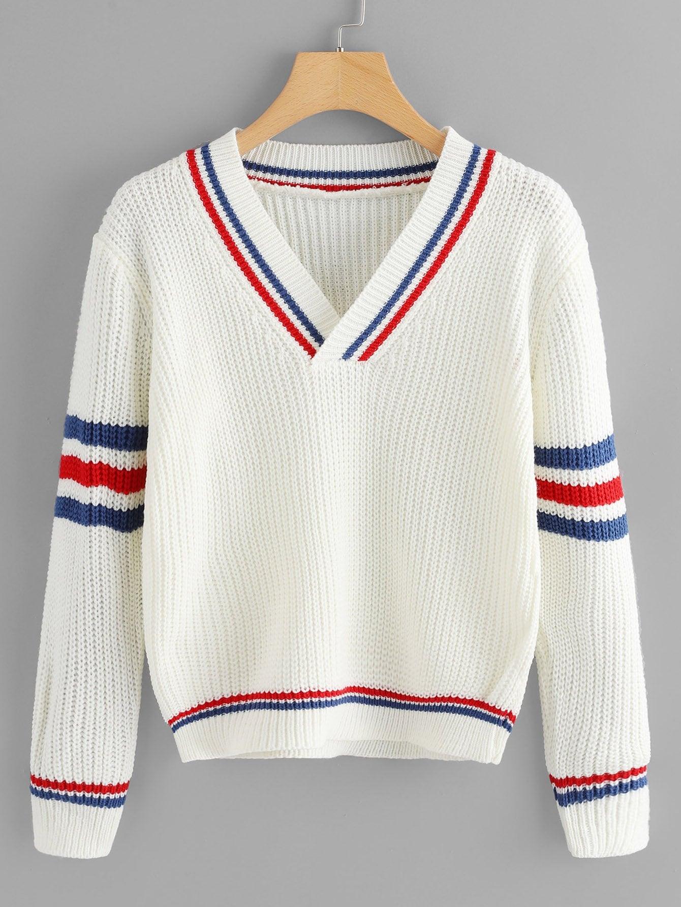 Купить Трикотажный свитер с v-образным воротником, null, SheIn
