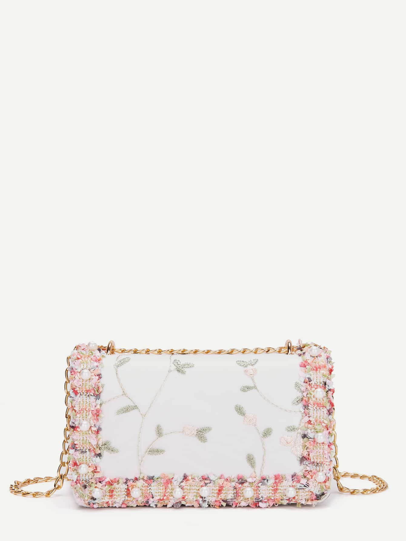 Faux Pearl Decor Detail Chain Bag