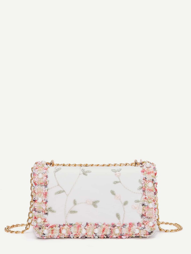 Faux Pearl Decor Detail Chain Bag, Pink