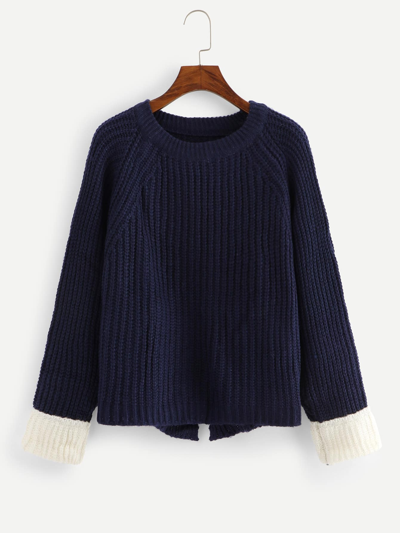 Raglan Sleeve Split Hem Sweater