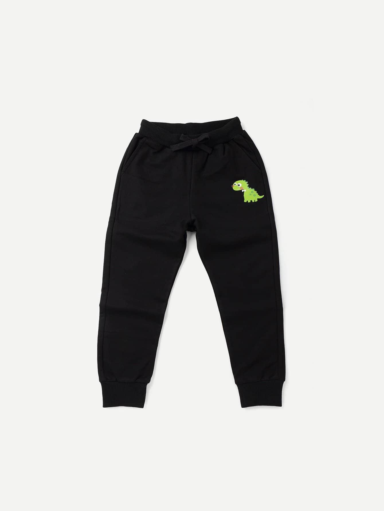 Boys Dinosaur Print Drawstring Pants